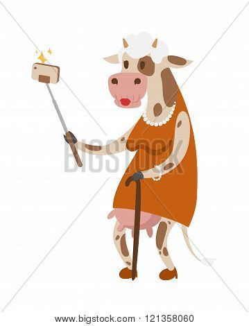 Selfie cow like old woman vector portrait illustration