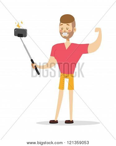 Selfie boy vector illustration