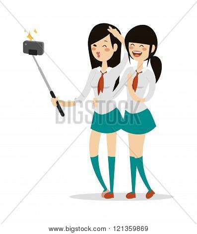 Japanese schoolgirls vector
