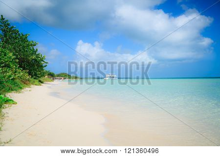 Amazing gorgeous landscape view of Cayo Coco island beach and tranquil azure turquoise ocean