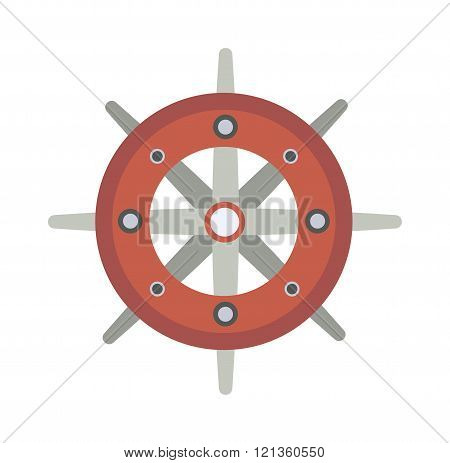 Yacht wheel vector illustration.