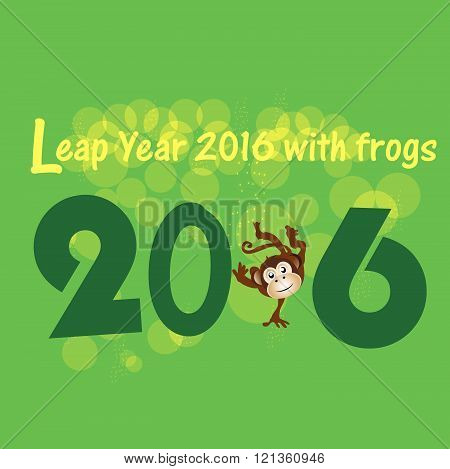 Leap Year 2016 with frogs and frogs concept