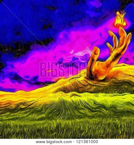 Landscape with flaming finger