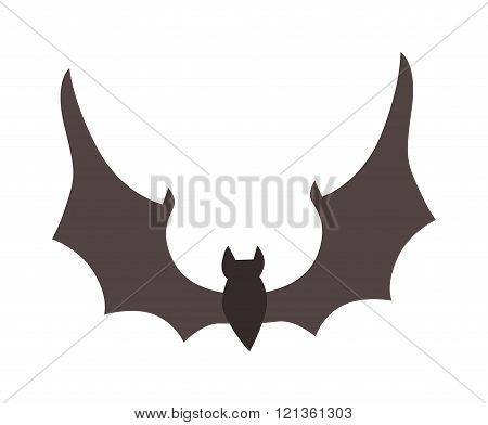 Illustration of Cute Cartoon Halloween bat vector.