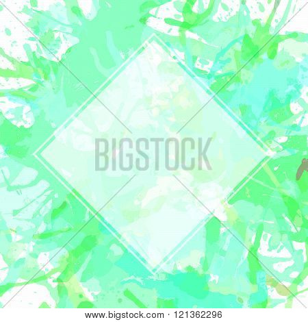 Template with semi-transparent white square over green pastel colored artistic paint splashes ready for your text.