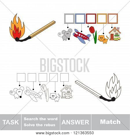 Vector rebus game. Find solution and write the hidden word Match