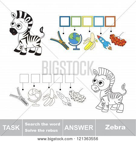 Vector rebus game. Find solution and write the hidden word Zebra