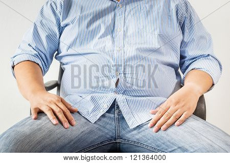 Fat man on white background