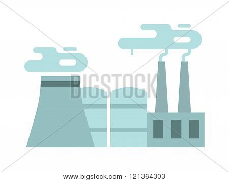 Flat thermoelectric power station flat vector illustration.