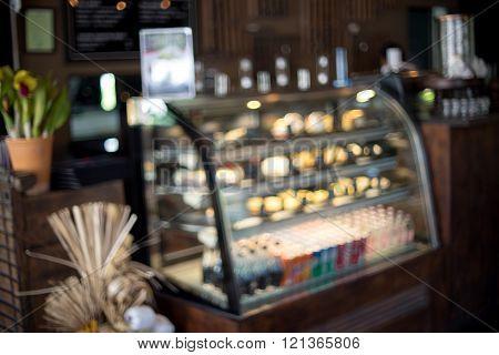 Blur Coffee Shop Cake Refrigerator