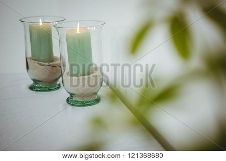 View of candles on a table