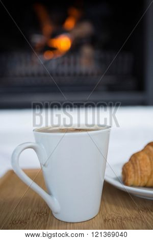Cup of coffee on table in the living room