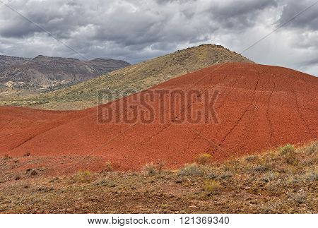 Beautiful Red Colored Clay Mount In The Painted Hills, Oregon