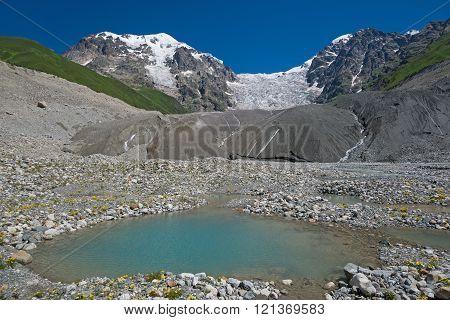 Glacier And Blue Lake