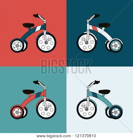 Kids tricycle flat vector collection.