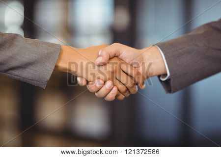 Close-up of businessman shaking hands with businesswoman in office