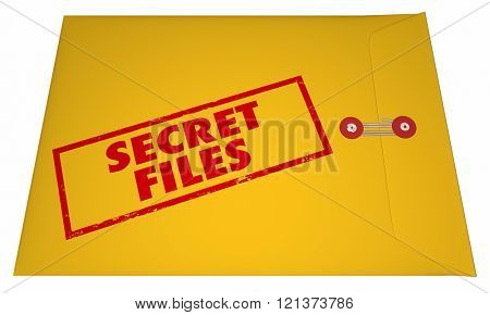Secret Confidential Classified Files Documents Stamped Envelope 3D