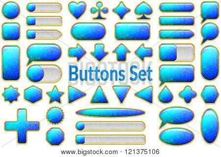 Blue Glass Buttons Set