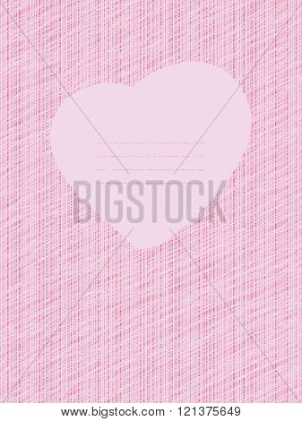 Pink Love Card. Grunge backdrop with scratches.