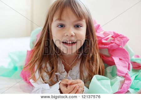 Portrait of cute happy playful child