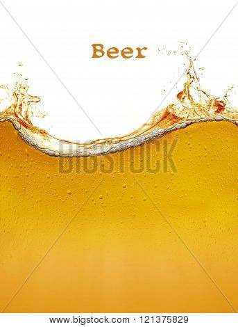 background of refreshing beer with splashing effect
