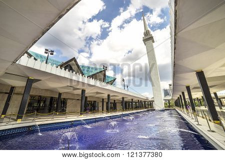 KUALA LUMPUR MALAYSIA - JANUARY 10 2016: View of National Mosque of Malaysia (Masjid Negara). This mosque was declared open on 1965.