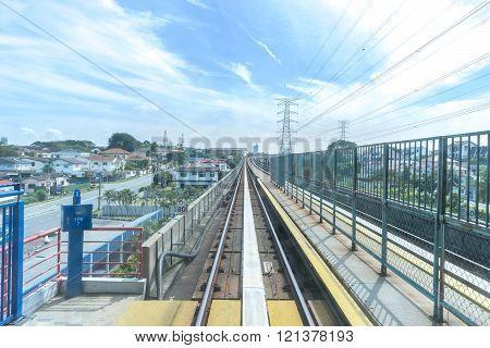 KUALA LUMPUR, MALAYSIA - FEBRUARY 02, 2016 :View of Railways with slow motion blurred background