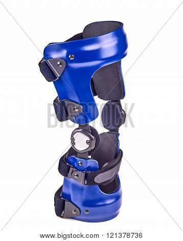 Blue rigged knee brace isolated over white.