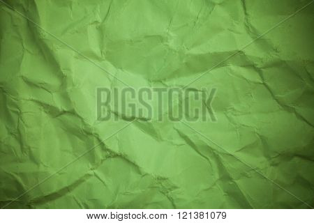 Paper Background, Crumpled Green Paper Texture.