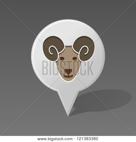 Sheep Pin Map Icon. Animal Head Vector