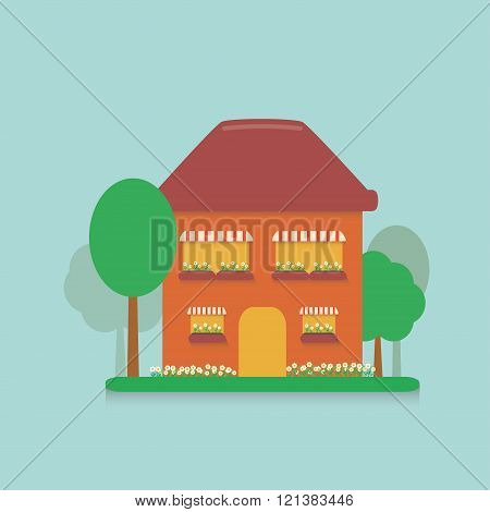 flat cartoon house in the suburbs with a small plot planted with flowers, daisies and planted trees