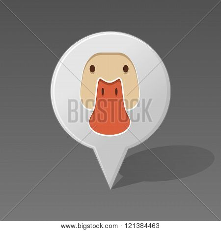 Duck Pin Map Icon. Animal Head Vector Illustration