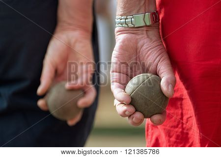 Seniors playing petanque,fun and relaxing game