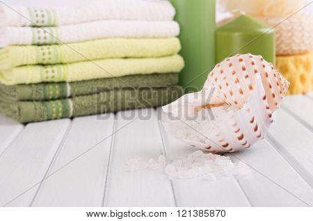 Cosmetic salt in seashell