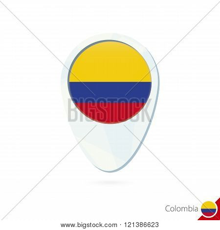 Colombia Flag Location Map Pin Icon On White Background.