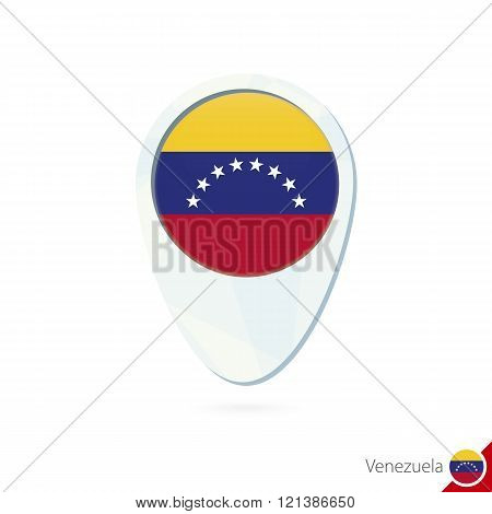 Venezuela Flag Location Map Pin Icon On White Background.