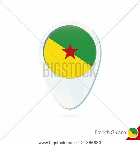 French Guiana Flag Location Map Pin Icon On White Background.