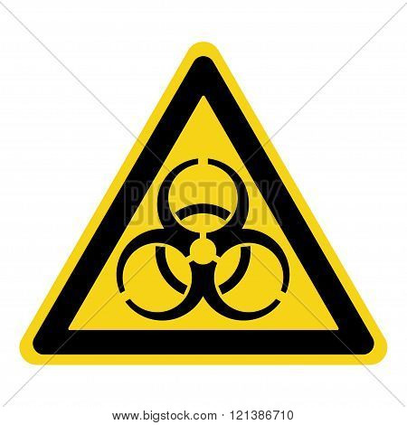 Biohazard Sign. Symbol of biological threat alert. Black hazard emblem isolated in yellow triangle on white background. Danger label. Warning icon. Stock Illustration
