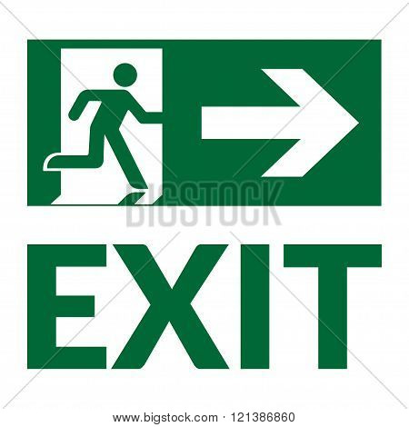 Exit sign with text. Emergency fire exit door and exit door. Green icon on white background. Safe condition symbol. Label with human figure and arrow. illustration