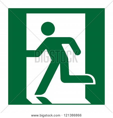 Exit sign. Emergency fire exit door and exit door. Green icon on white background. Safe condition symbol. Label with human figure. illustration