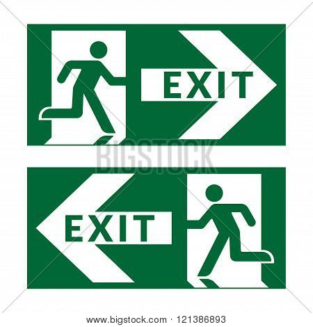 Exit sign. Emergency fire exit door and exit door. Green icon on white background. Safe condition symbol. Label with human figure and arrow. illustration