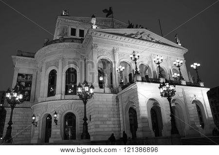 Frankfurt am Main, Hessen Germany - March 14 2016 :  View of Alte Oper Frankfurt on 11th March 2016. It was inaugurated in 1880 but destroyed by bombs in 1944. It was rebuilt, slowly, in the 1970s.