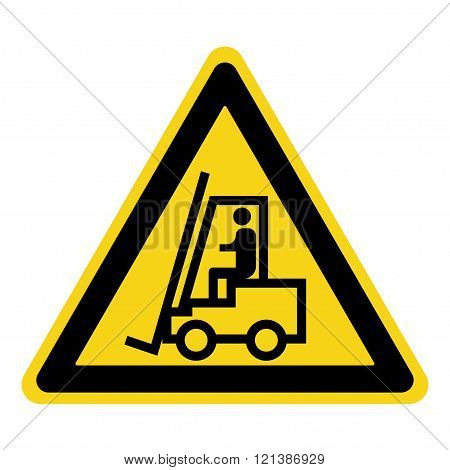 Forklift truck sign. Symbol of threat alert. Hazard warning icon. Black lift-truck with the silhouette of a man emblem isolated in yellow triangle on white background. Danger label. Stock