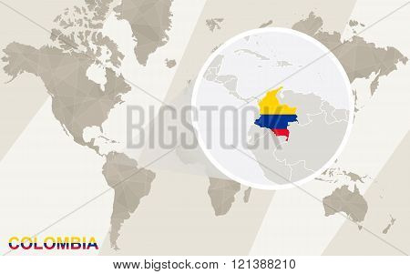 Zoom On Colombia Map And Flag. World Map.