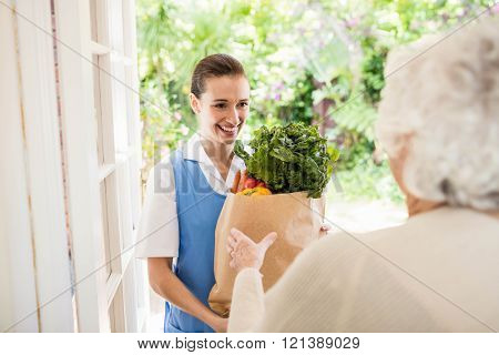 Nice nurse bringing vegetables to old patient at home