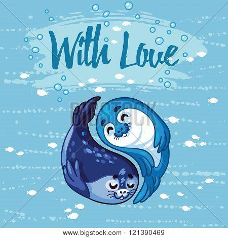Yin Yang seal pups vector illustration.