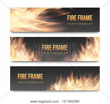 Set of realistic transparent fire flame banners
