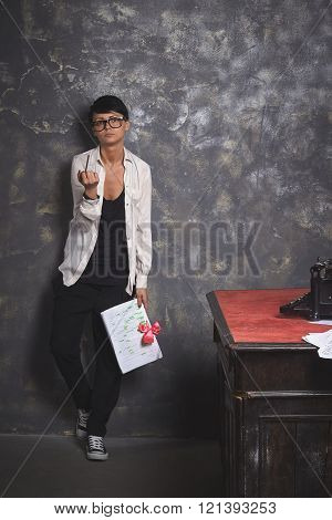 Young Stylish Woman Writer, Creative Work, Article, Document In Hand