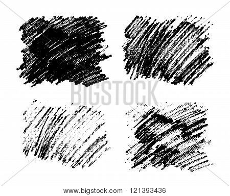 Black paint stains overlay vector texture