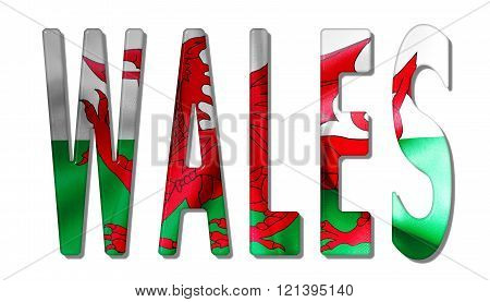 Wales Word With Flag Texture